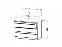 Duravit Waschtischunterschrank stehend X-Large 470x800x740mm, 3 SchKa, f.032985, flannel grey sdm.,