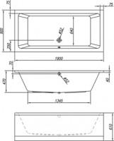 Neuesbad Acryl Duo Rechteck-Badewanne extratief L: 1900, B: 900, H: 470 mm, Farbe: weiss
