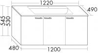 Burgbad Glas-Waschtisch und Waschtischunterschrank  Sys30 PG2 Weiß Hochglanz/Weiß, SEXQ122461A0070