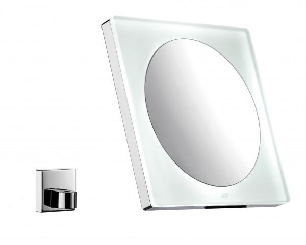 Emco LED Rasier- und Kosmetikspiegel, wanndhängend, Vergrösserung: 3-fach, mit Akku (AA),eckig,chrom