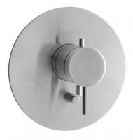 Herzbach Design iX Wannenarmatur Thermostat, Blende rund Edelstahl, 17.130300.2.09