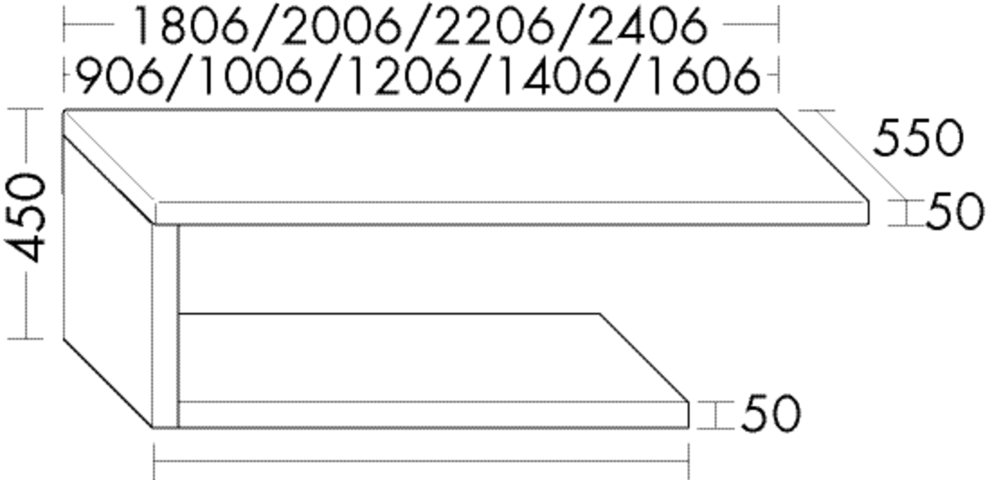 Image of Burgbad Konsolenplatte 450x1206x550 Grau Hochglanz Acryl, APW120ELA0257 APW120ELA0257