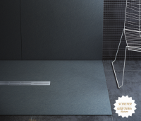 Fiora Silex Privilege Duschwanne, Breite 110 cm, Länge 120 cm, Farbe: Nature schwarz