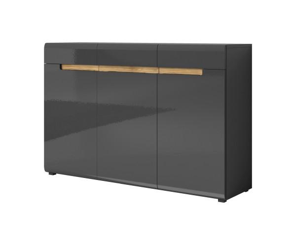 Sideboard HL1-45, 137 cm x 92 cm x 39 cm,grau/grau hochglanz/appenzeller Fichte