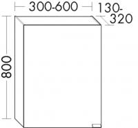 Burgbad Spiegelschrank rc40 Matt 800x600x130-320 Anthrazit Matt, SS011_BR0600LF4513