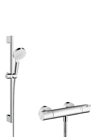 Hansgrohe Brausenkombi Crometta Vario/ Ecostat 1001 CL/Unica 650mm weiss/chrom, 27812400