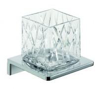 Emco Asio Glashalter mit Kristallglas klar geschliffen, Version 1, chrom/chrom