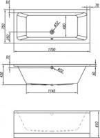 Neuesbad Acryl Rechteck-Badewanne extratief L: 1700, B: 750, H: 470 mm, Farbe: weiss