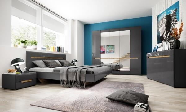 Bett HL1-32, 186 cm x 35 cm x 205 cm, grau/grau hochglanz/appenzeller Fichte
