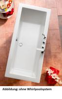 Acryl Badewanne Cubic 1700 x 750 mm, weiß mit Whirlpoolsystem Typ Premium, chrom