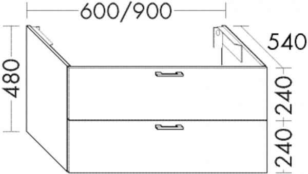 Burgbad Waschtischunterschrank Sys30 PG4 480x900x540 Weiß Hochglanz, WTU098AF3359