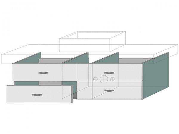 Sanipa Waschtischunterschrank mit Auszügen (2morrow) MM40815, Ulme Natural-Touch 340x1200x520, MM408