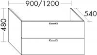 Burgbad Waschtischunterschrank Sys30 PG2 480x1200x540 Weiß Hochglanz, MWU122AL461