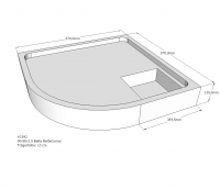 Neuesbad Wannenträger für Bette Corner 90x90x3,5 Viertelkreis