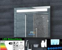 Neuesbad LED Lichtspiegel, Uhr, Radio, MP3 und Touch Schalter, B:1000, H:600 mm
