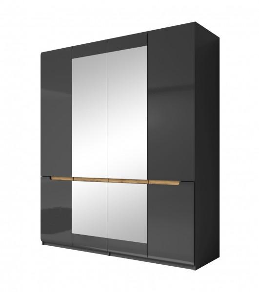 Drehtürenschrank HL1-20, 181 cm x 213 cm x 60 cm,grau/grau hochglanz/Appenzeller Fichte