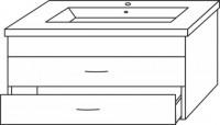 Sanipa Waschtischunterschrank mit Auszügen (2morrow) MN79852, Anthrazit-Hochglanz 450,0x750,0x462,0