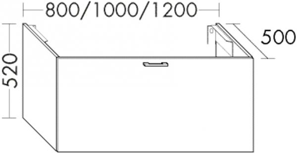Burgbad Waschtischunterschrank Sys30 PG4 520x1000x500 Hellrot Hochglanz, WUYT100F3361