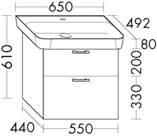 Image of Burgbad Keramik-Waschtisch und Waschtischunterschrank Sys30 PG2 Eiche Dekor Flanelle Rahmen/Alpinwei SFGE065F2235C0001