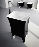 ArtCeram Cow freistehender Waschtisch, B: 600, T: 450, H: 850 mm, schwarz weiss Dekor