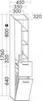 Burgbad Hochschrank Sys30 PG2 1760x300x320 Hacienda Schwarz, HSKV045RF0765