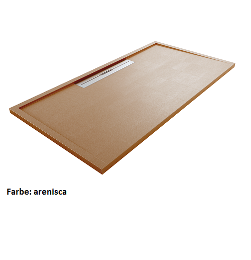 Silex Avant Duschwanne 120 x 80 x 4 cm, Schiefer Textur, Form und Größe zuschneidbar