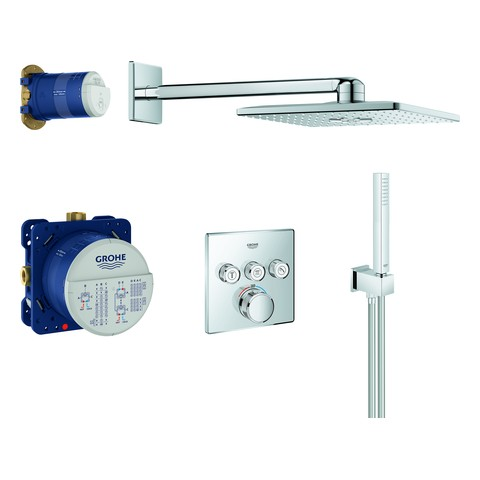 Grohe UP-Duschsys. GrohthermSmartControl eckige Form 34706 mit THM/KB/HB chrom, 34706000