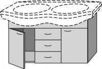 Sanipa Waschtischunterschrank 2day, EG18782 Weiss-Hochglanz, H:565, B:1050, T:395 mm
