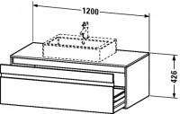 Duravit Waschtischunterschrank wandhängend Ketho T:550, B:1200, H:426mm, KT6696 , Front/Korpus: weis