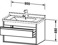 Duravit Waschtischunterschrank wandhängend Ketho T:465, B:800, H:480mm, KT6644 , Front/Korpus: nussb