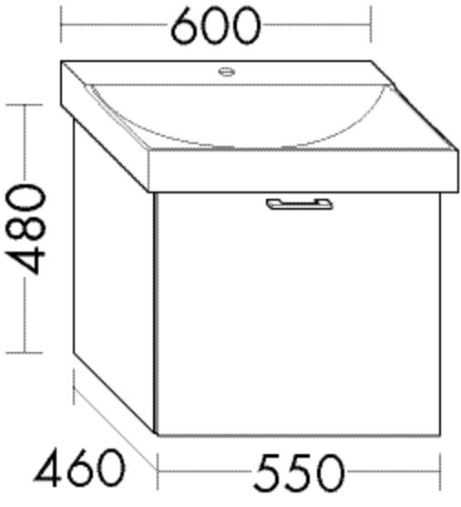 Burgbad Waschtischunterschrank Sys30 PG4 480x550x460 Grau Hochglanz, WUVF055F3364