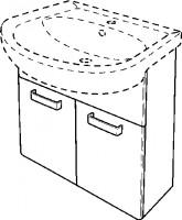 Keramag Waschtischunterschrank Renova Nr. 1, 880062 550x590x310mm Weiß, Wenge, Y880062000