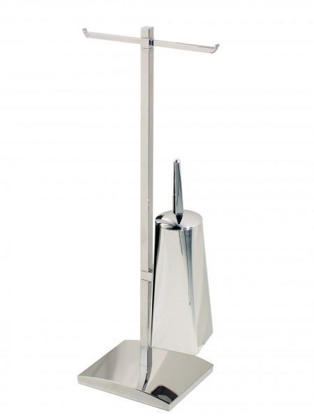 Koh-I-Noor AKKA Doppelter Rollenhalter Toilettenbürste 28x18x76, Chrom, 5037KK