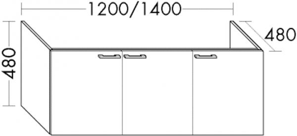 Burgbad Waschtisch-Unterschrank Sys30 PG4 480x1200x480 Grau Hochglanz, WUYG120LF3364