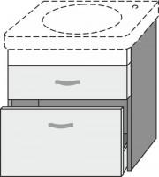 Sanipa Waschtischunterschrank 2morrow MT62701, Weiss-Matt, H:605, B:390, T:422 mm