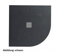 Fiora Silex extraflache Viertelkreis Duschwanne, 80 x 80 cm Höhe: 3 cm, Schiefer Textur, Radius 550