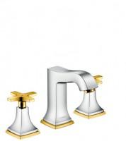 Hansgrohe 3-Loch Waschtischarmatur 110 Metropol Classic chrom/gold mit Kreuzgriffen, 31306090 , 3130