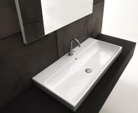 Axa one Serie Normal Waschtisch mit 1 Hahnloch, B: 1000, T: 450 mm, weiss glänzend