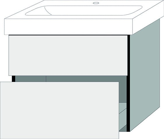 Sanipa 3way Waschtischunterschrank mit Auszügen BR99235, Pinie-Schwarz
