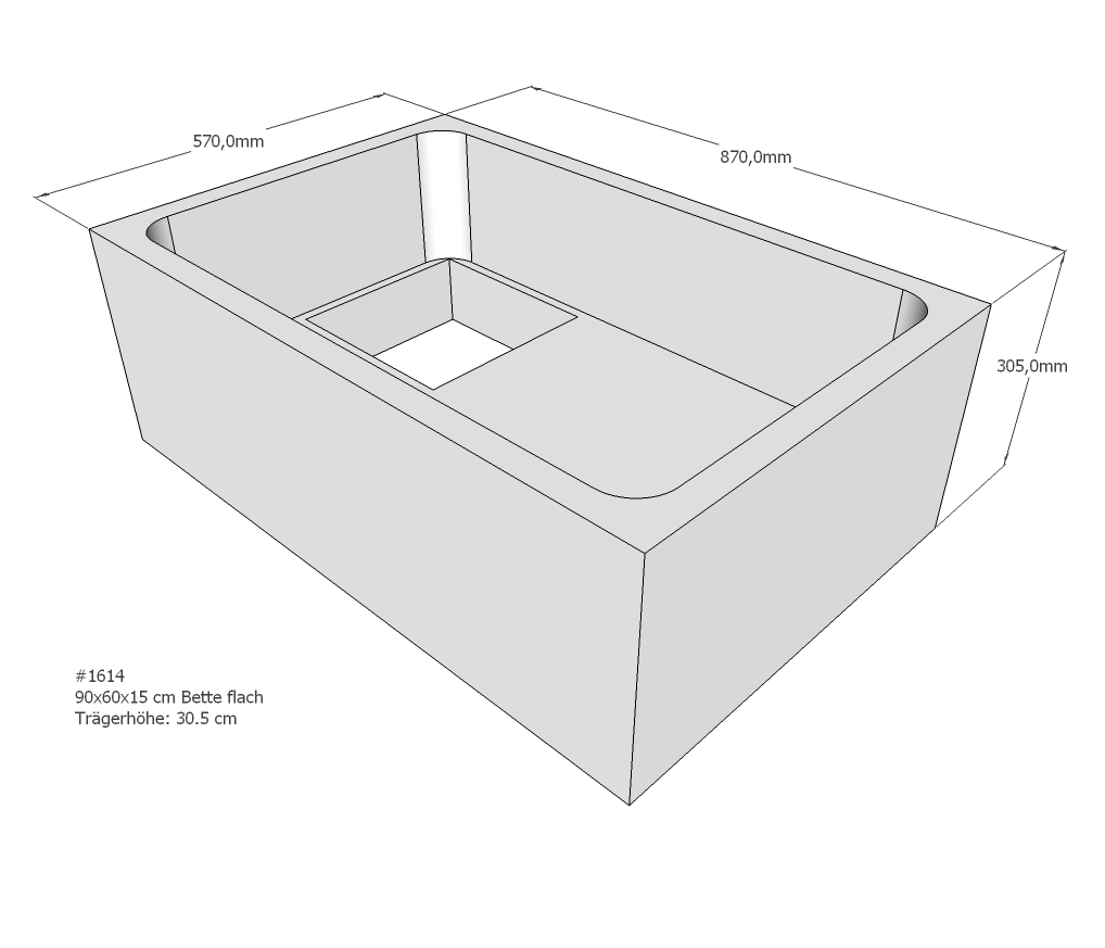 neuesbad wannentr ger f r bette flach 60x90x15. Black Bedroom Furniture Sets. Home Design Ideas