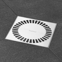 "Aqua Brilliant 15x15 cm, ""Abdeckung , Edelstahl gebürstet"", waagr & senkr"