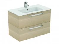Ideal Standard Waschtisch/Möbel-Paket EUROVIT PLUS, 815x450x565mm, Weiß / Eiche hell, K2978OS