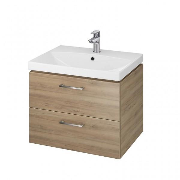 Neuesbad Serie 50 Waschtisch-Set 60cm, Keramikwaschtisch mit Unterschrank, nussbaum