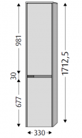 Sanipa Hochschrank links Twiga Keramik, SL10014 Pinie-Grau