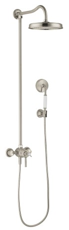 Hansgrohe Showerpipe Axor Montreux brushed nickel mit Thermostat, 16570820