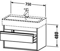 Duravit Waschtischunterschrank wandhängend Ketho T:440, B:750, H:480mm, KT6637 , Front/Korpus: terra