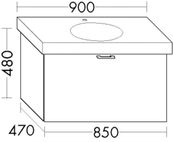 Burgbad Waschtischunterschrank Sys30 PG4 480x850x470 Sand Hochglanz, WUUY085F3360