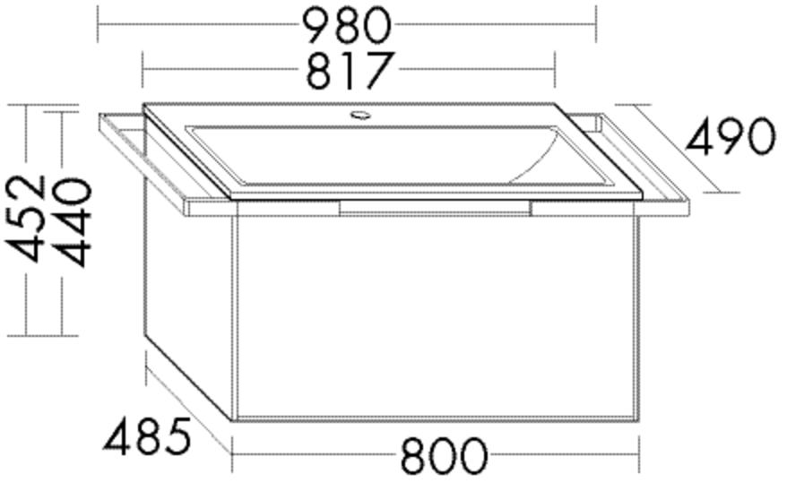 Image of Burgbad Keramik-Waschtisch und Waschtischunterschrank YSO PG1 Matt Sand Matt/Alpinweiss, SFAC081F212 SFAC081F2121C0001