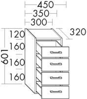 Burgbad Unterschrank Sys30 PG2 601x350x320 Weiß Hochglanz, U3535461
