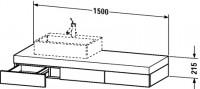 Duravit Konsole mit Schubkasten Fogo T:550, B:1500, H:215mm, FO85280